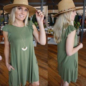 Somebody's Problem Loose Fit Dress-Olive